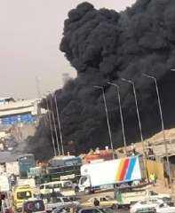 حريق هائل نتيجة كسر ماسورة مازوت بموقف العاشر .. وجهود أمنية للسيطرة على الموقف