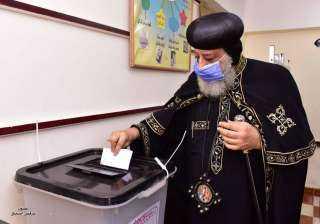 البابا يدلي بصوته في انتخابات الشيوخ