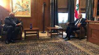 تفاصيل مباحثات سامح شكري مع رئيس مجلس النواب اللبناني