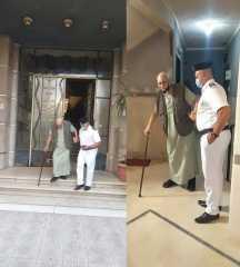 قطاع أمن القاهرة يلبى إستغاثة مواطن مسن يرغب فى الإدلاء بصوته