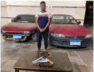 سقوط لص خطير بالقاهرة تخصص فى سرقة السيارات وبحوزته سلاح نارى