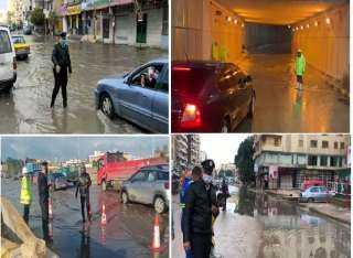 بالفيديو .. رجال الشرطة يواصلون جهودهم فى مـواجهة تداعيات الأمطار