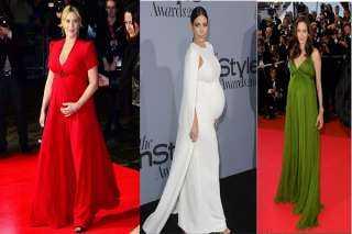 أبرزهن كيت وينسلت وأنجلينا جولي.. قائمة أجمل إطلالات نجمات هوليود الحوامل بفساتين السهرة