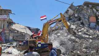 المعدات المصرية تواصل جهود إعادة الإعمار فى غزة