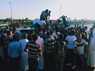 إصابة 22 شخصا فى حادث انقلاب أتوبيس على طريق ميت غمر - المنصورة