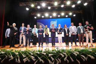 بالصور .. شاهد احتفالية وزارة التعليم العالي بأبطال طوكيو 2020 بالجامعة البريطانية